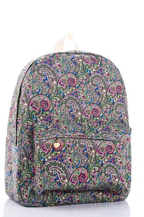 Paisley Printed Backpack In Multicolor