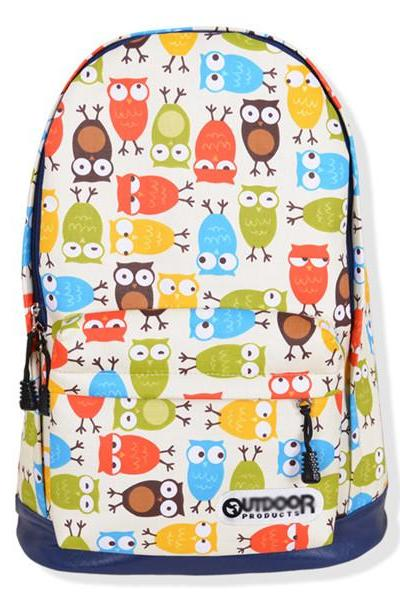 Full Multicolor Owls Printed Backpack