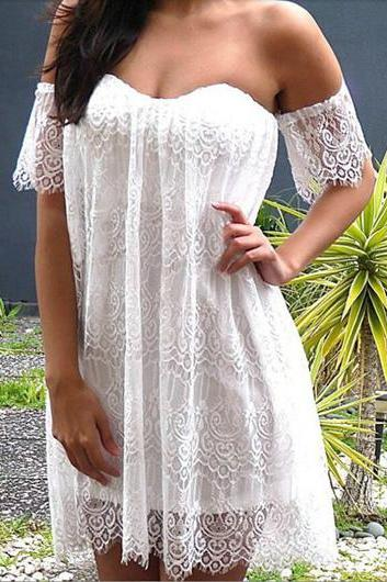 Sexy off the Shoulder White Lace Dress