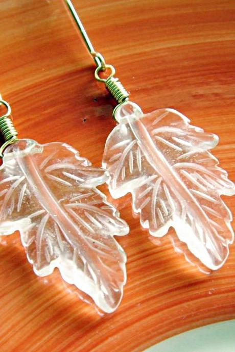 Unique Hand Etched Clear Quartz Leaves 14k Gold Filled Earrings