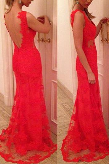 Amazing Sleeveless Keyhole Back Mermaid Dress for Lady - Red