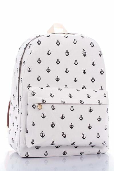 Full Anchor Printed Backpack In White