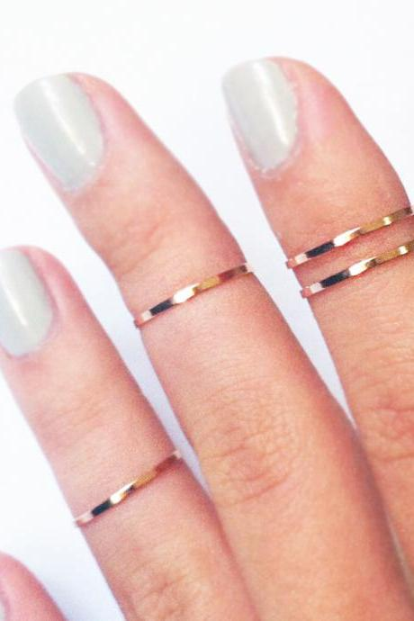 4 Thin Knuckle Rings - rose gold plated thin shiny bands - set of 4
