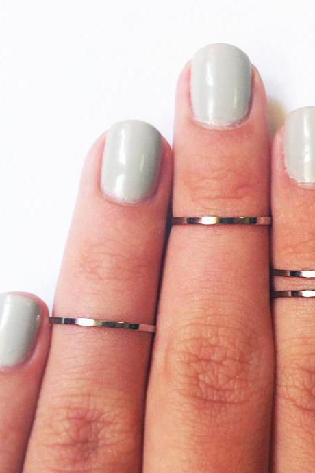 4 Thin Knuckle Rings - chrome silver plated thin shiny bands - set of 4 stackable