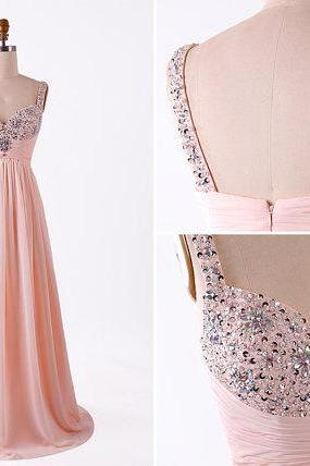 Custom made Pretty Pink Beadings Straps Long Prom Dresses 2015, Pink Formal Dresses, Pretty Pink Evening Dresses