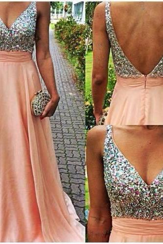 Lovely Light Pink V-Neckline Backless Floor Length Prom Dresses 2021 With Rhinstones, Prom Dresses 2021, Prom Gown, Evening Dresses