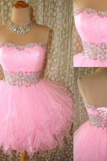 short sweetheart pink tulle homecoming dress with bead ,Lovely Mini Pink Ball Gown Prom Dress With Beadings, Homecoming Dress With Lace Up, Graduation Dresses, Prom Dresses