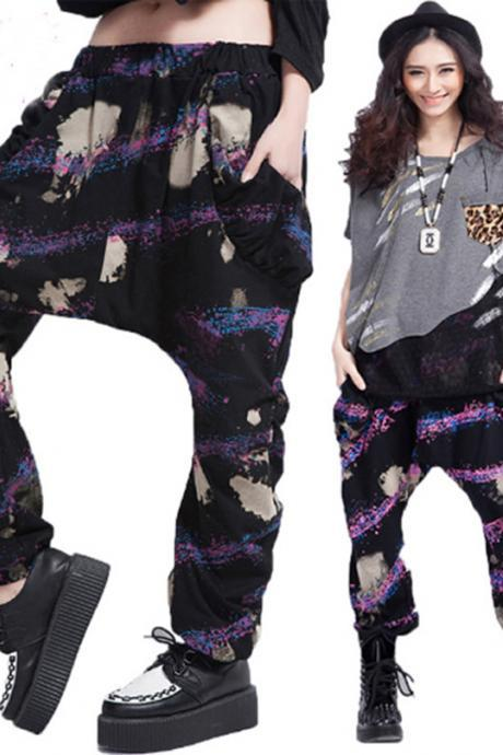 2015 Fashion Women's Plus Size Casual Slacks Watercolor Sweatpants Dance Baggy Harem Pants Trousers