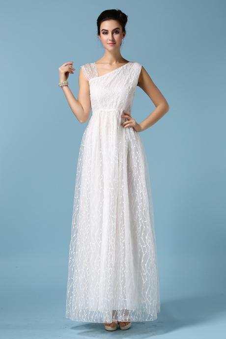 High Quality White Organza embroidered Maxi Dress