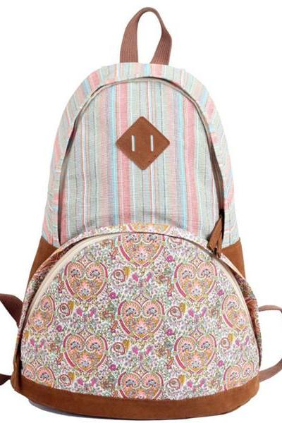 Backpack In Stripes And Floral Printed
