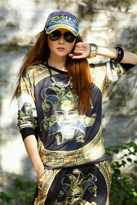 2015 Fashion Women's Funny Long Sleeve Summer T shirts Casual Tee Clown Printed Loose Top Clothing
