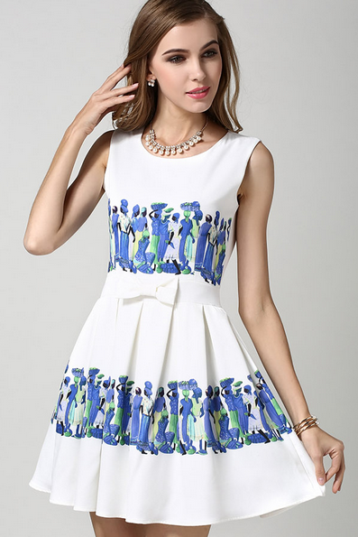 Designer Floral Sleeveless Dress - Blue