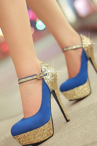 Blue Glittered Stiletto Heels
