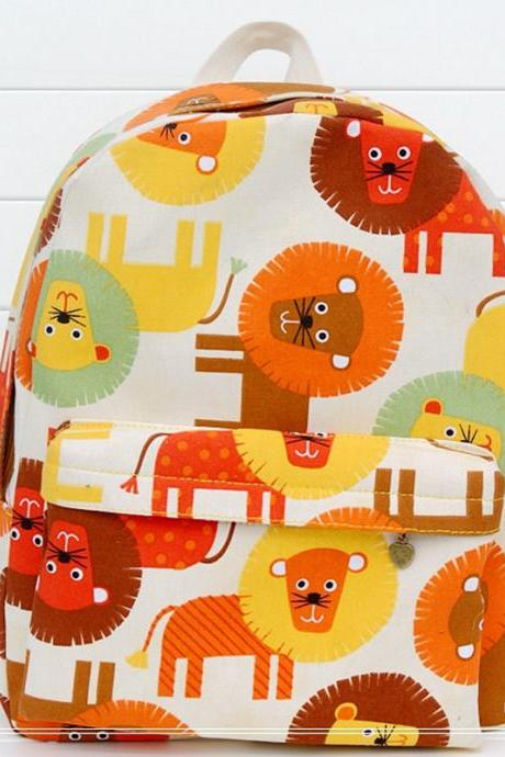 Multicolor Lions Print Canvas School Bag Travel Backpack