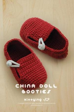 China Doll Baby Booties Crochet PATTERN, PDF - Chart & Written Pattern by kittying