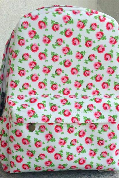 Full Red Rose Print School Bag Backpack