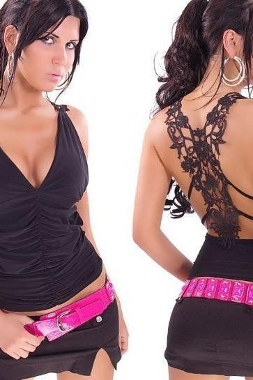 Ladies Sexy Party Lace Embroidery Belt Tank Tops Fashion Vest T-Shirt Women Club Crop Top 2014 Plus Large Size Camisole Black