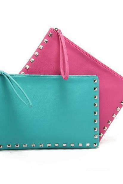 Simple Color Handwork Seamed Clutch PU Bag