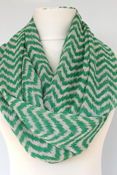 Green spring scarves for women summer scarf chevron infinity scarf loop scarf gift idea for her