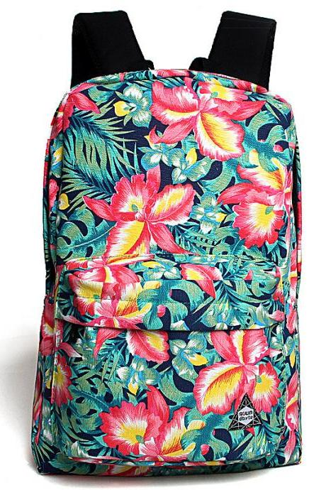 Flower Printed Wide Shoulder Straps Laptop Travel Backpack