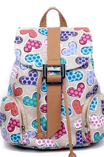 Women's Full Multicolour Hearts Print PU School Bag Travel Backpack