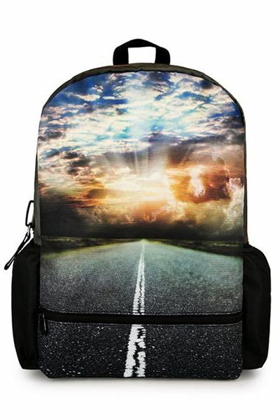 Highroad And Sunset Print Canvas School Bag Travel Backpack