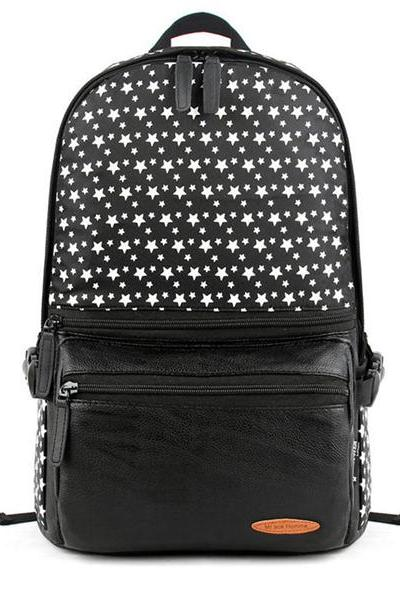 White Little Stars Print Canvas School Bag Travel Backpack