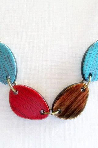 Antique Bronze Necklace, Turquoise and Red Necklace