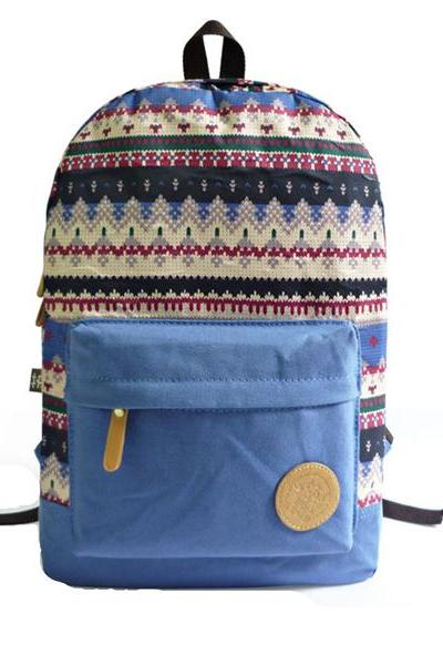Multicolour Snowflakes Print Canvas School Bag Travel Backpack