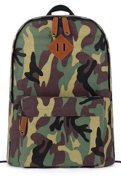 Men's Camouflage Print Canvas School Bag Travel Backpack