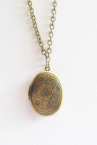 Antique Bronze Locket Necklace