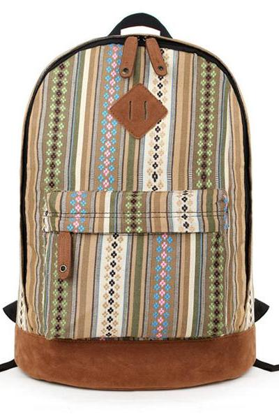 Multicolour Vertical Stripes And Little Flowers Print Canvas School Bag Travel Backpack