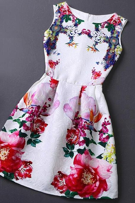 Slim Vintage Jacquard Printed Sleeveless Vest Dress WE08