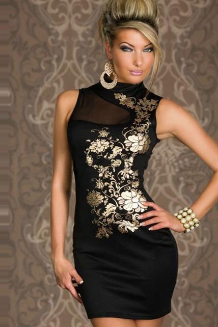 Sexy Mandarin Collar Floral Print Black Dress