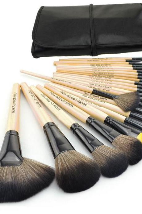 High Quality 24 Pcs/Set Makeup Brushes Cosmetic Set Kit Packed In Black Leather Case - Wood