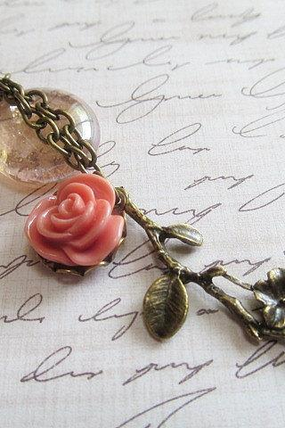 Antique Bronze Necklace, Pink Rose Pendant Necklace