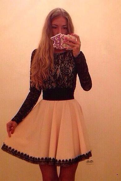New Fashion Women's Long Sleeve Lace Chiffon Patchwork Elegant Party Casual Dress