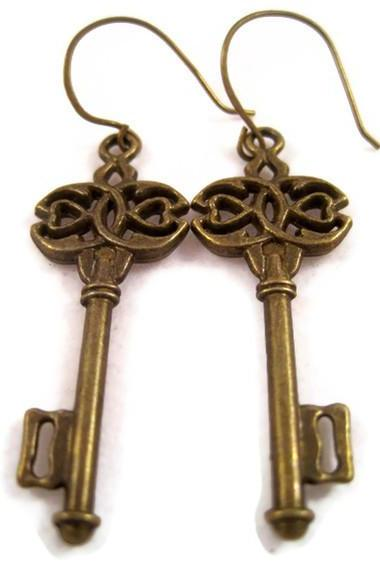 Earrings - Antique Bronze Brass Skeleton Key Earrings, Dangle Key Earrings, Brass Keys