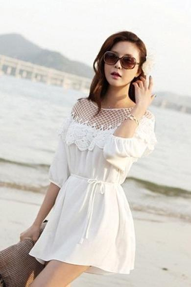 New Women's Fashion 3/4 Sleeve Sexy Hollow Out Lace Splicing Dress With Belt