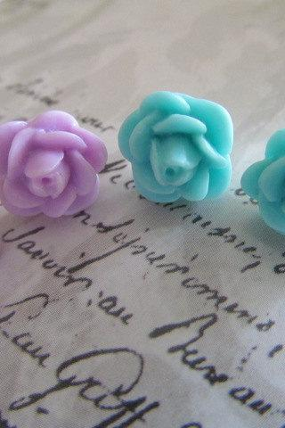 Two Pair Flower Stud Earrings, Purple and Blue Flower Stud Earrings, Gift Earrings, Teen Earrings