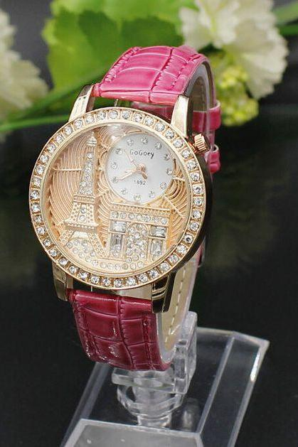 Eiffel Towel Triumphal Arch Pink Purple Face Dress Girl Watch