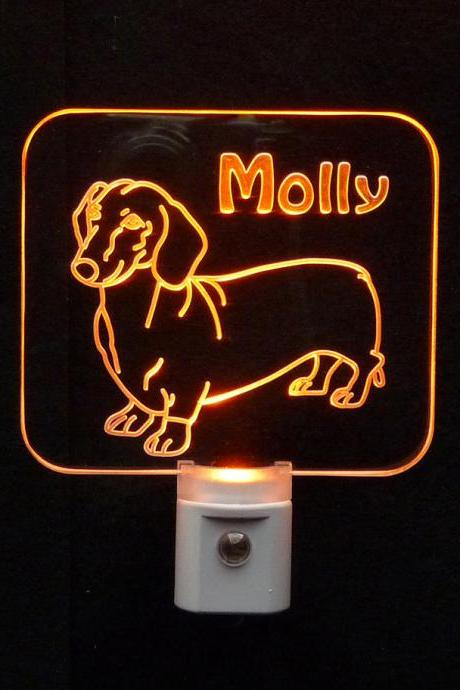 Personalized Wiener Dog, Dachshund LED Night Light