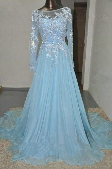 Pretty Mint Blue Chiffon Long Prom Dress with Applique and Beadings, Made to Order Prom Dresses,Formal Dresses, EVening Gowns
