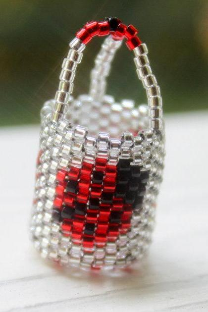 Miniature Basket Handwoven Beaded Ladybug