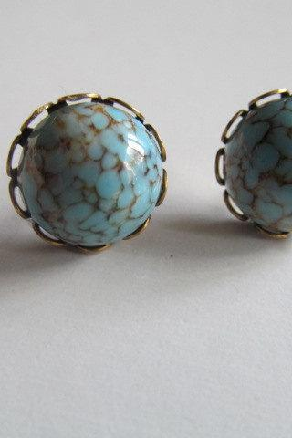 Blue Marble Stud Earrings