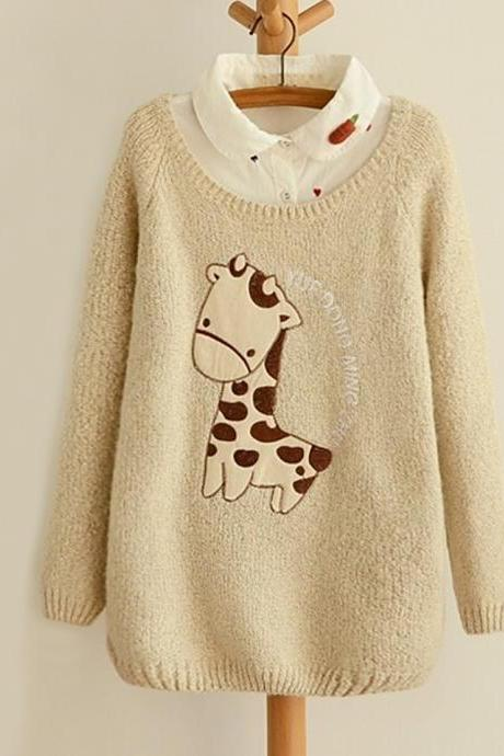 Cute Giraffe Embroidery Applique Sweater