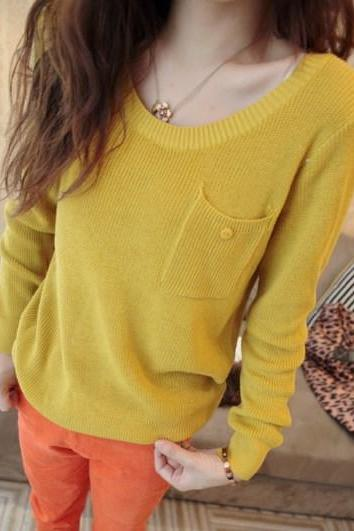 Autumn All-Match Gentle Pocket Knitted Basic Shirt Female Slim Long-Sleeve Tops Women Sweater