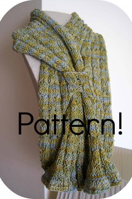Knitting Scarf Pattern, Cotton - Knitting tutorial PDF