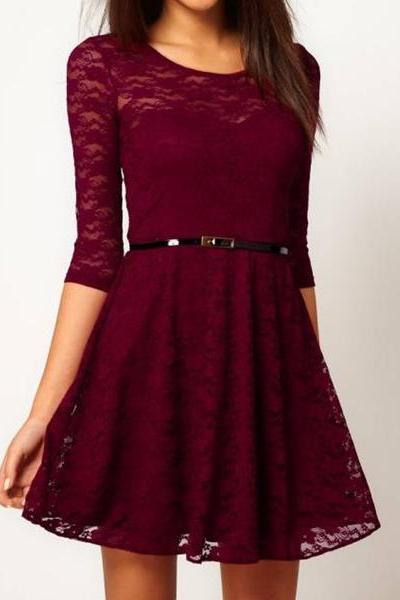 fashion Sexy Sleeve Lace Dress With Belt Waist
