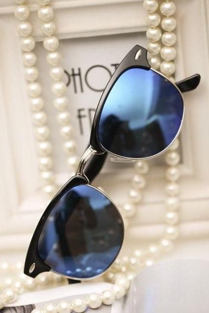 Beach Party Cat Eye blue lenses Unisex Sunglasses